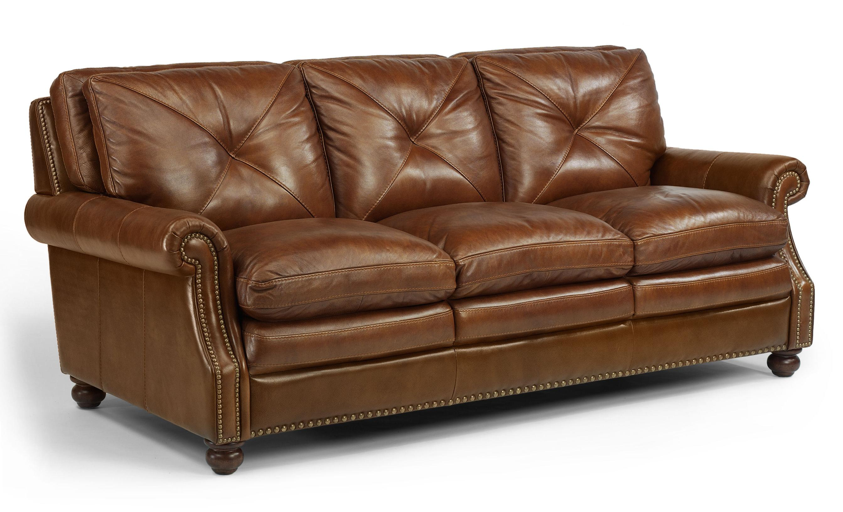 Laudes Suffolk Leather Stationary Sofa With Nailhead Trim By Flexsteel At Goffena Furniture Mattress Center