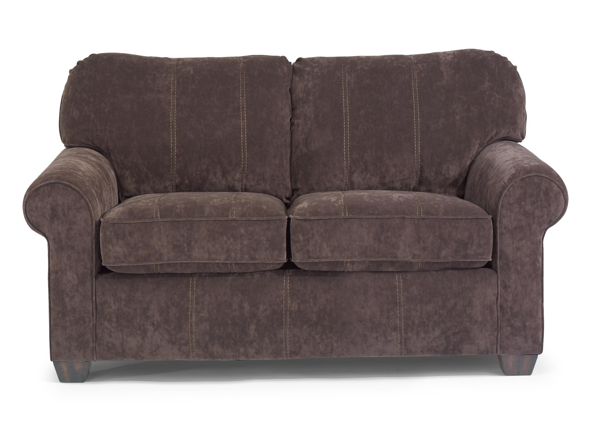 Flexsteel Thornton Upholstered Love Seat with Rolled Arms Dunk