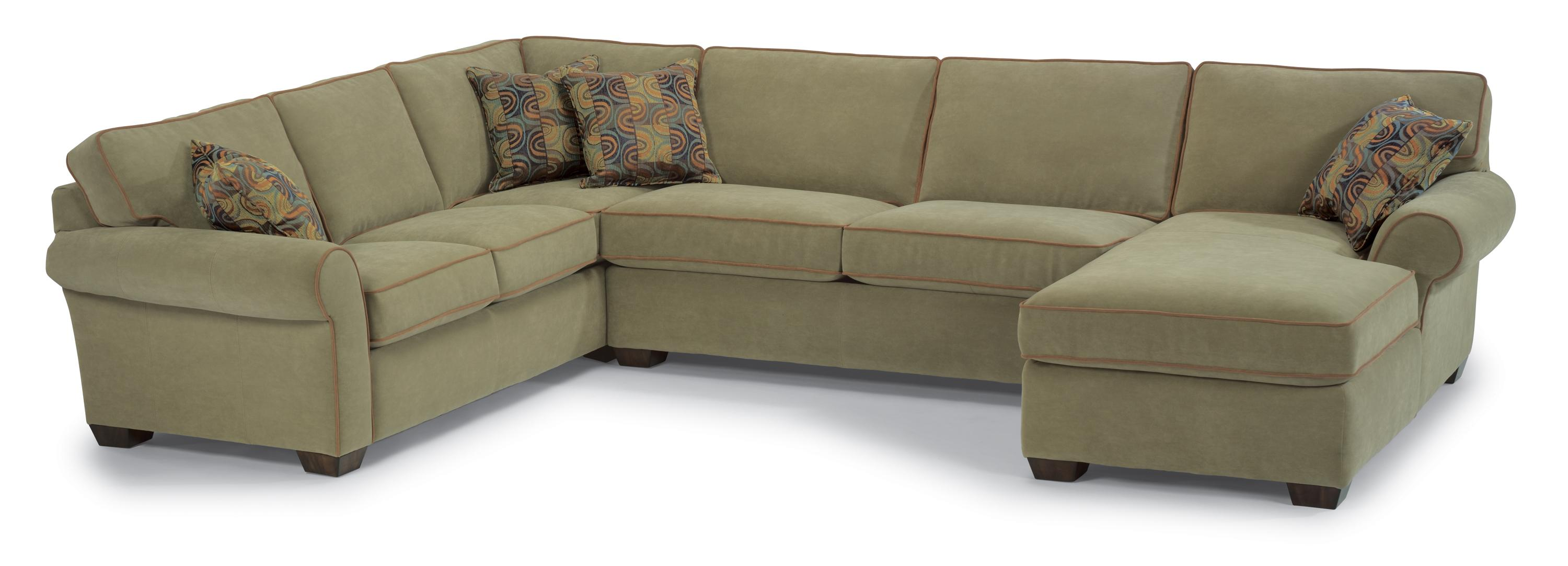 Flexsteel Vail Three Piece Sectional with Chaise Dunk & Bright