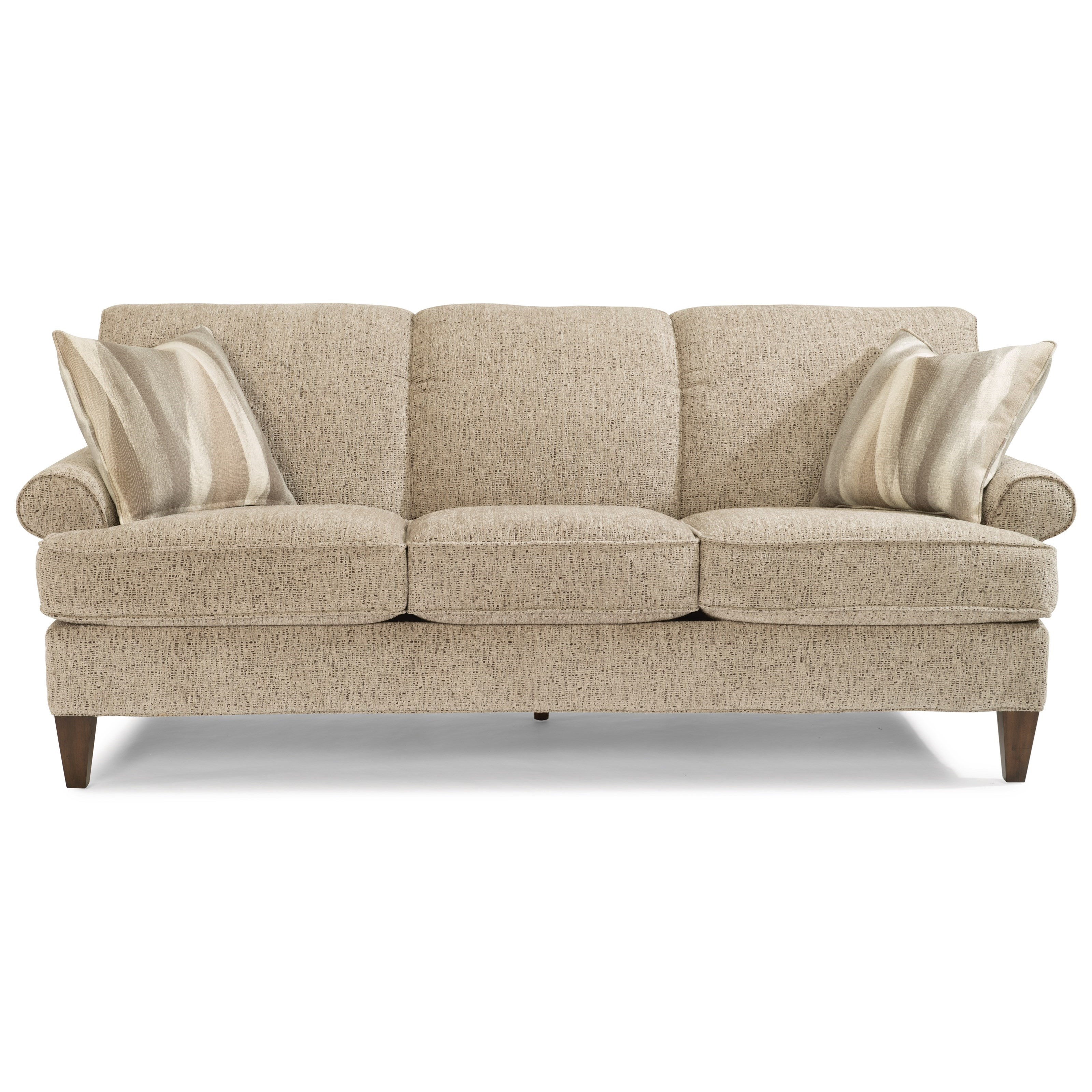 Flexsteel Venture Transitional Sofa With Rolled Arms And