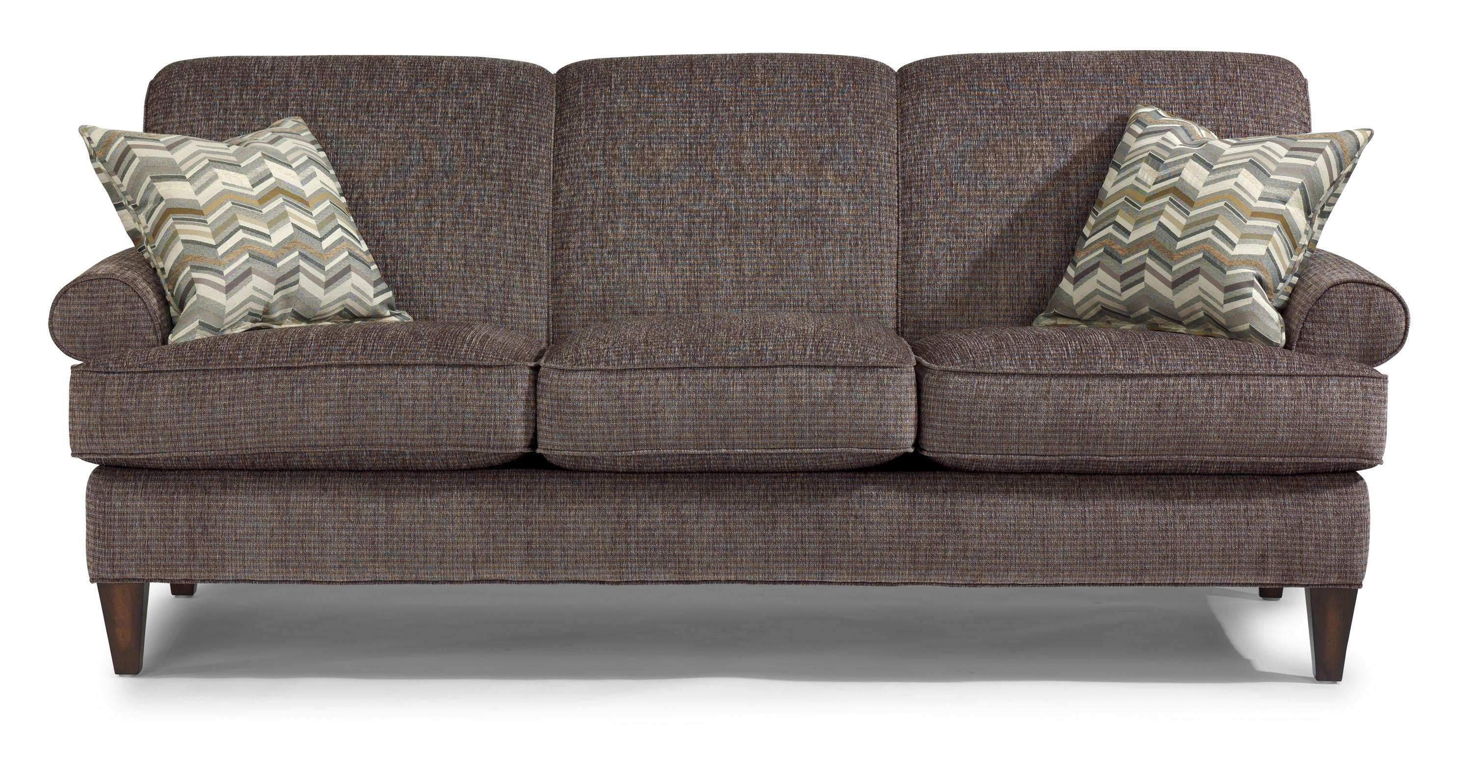Flexsteel Venture 5654 31 Transitional Sofa With Rolled Arms And Tapered Legs Furniture And
