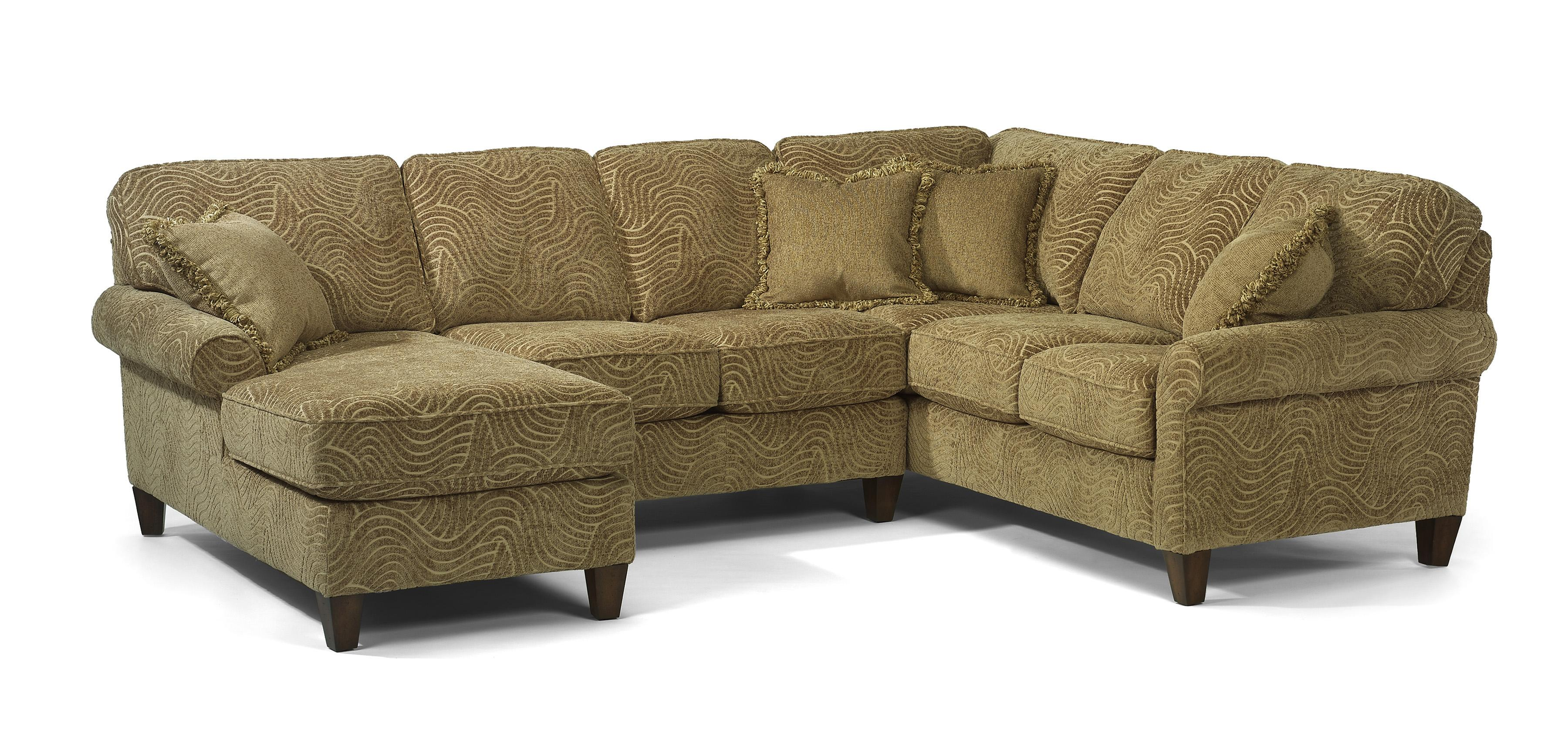 Delightful Westside Casual Corner Sectional Fabric Upholstered Sofa By Flexsteel