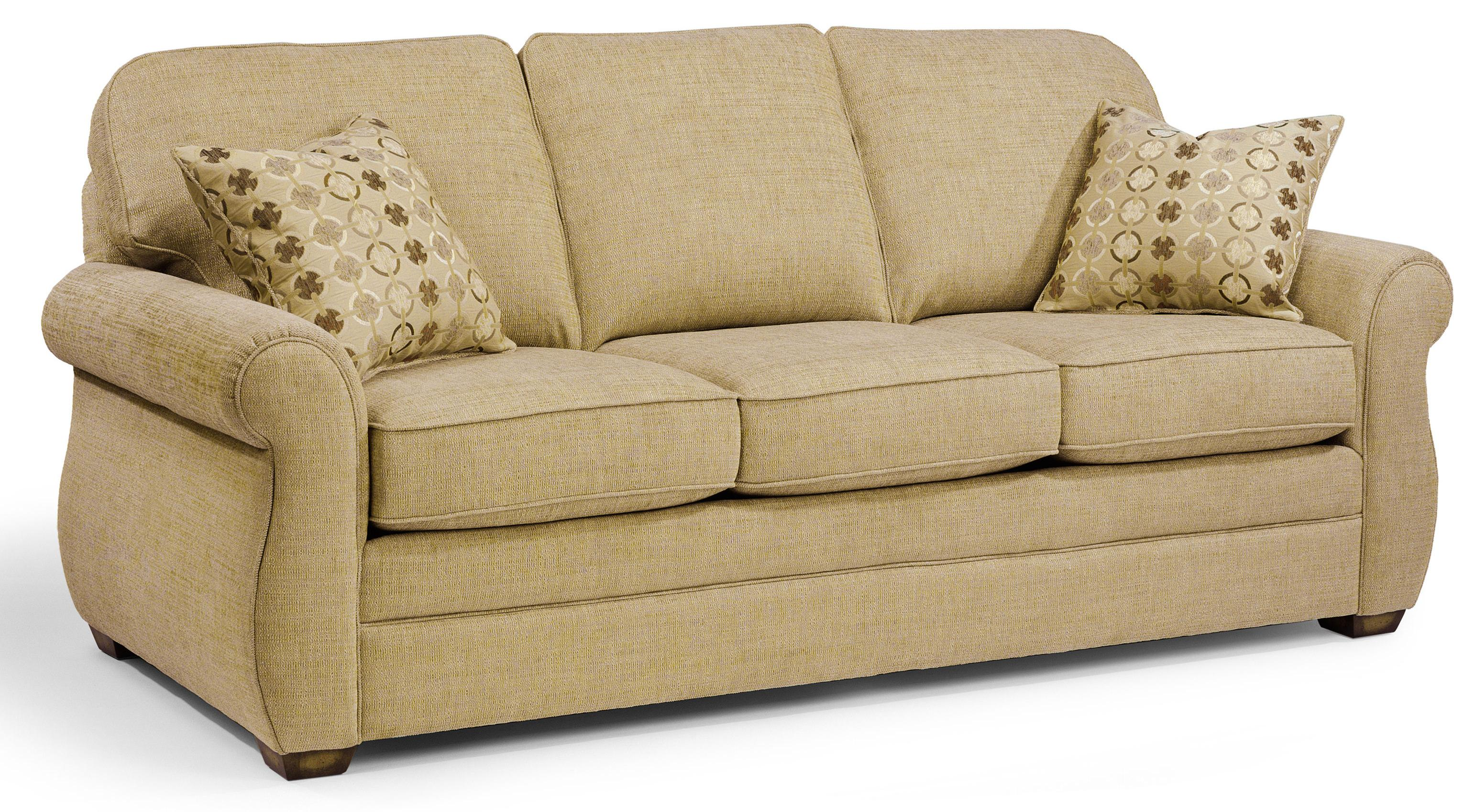 Whitney Sofa With Turned Arms And Wood Block Feet By Flexsteel