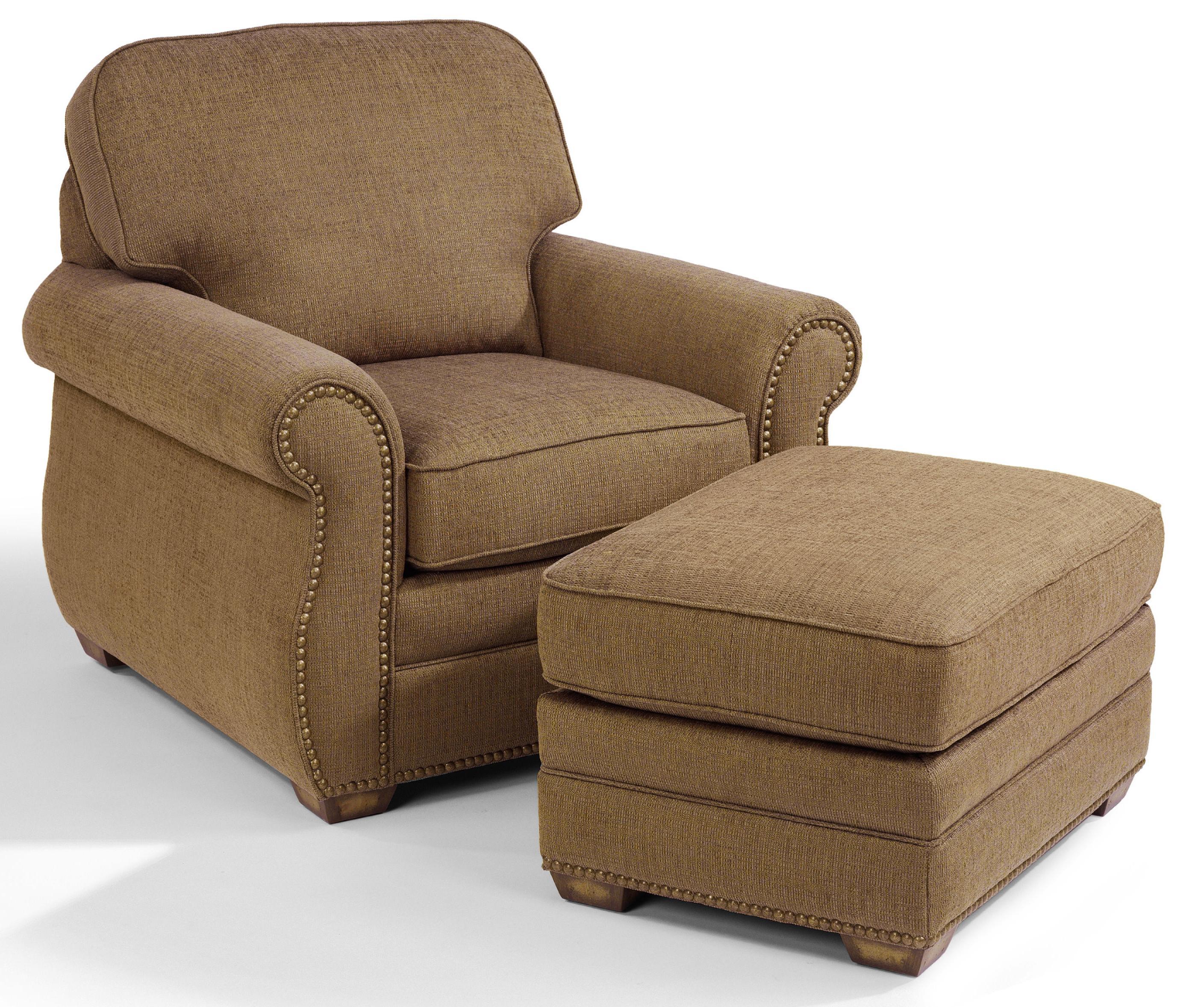 Flexsteel Whitney 5644 08 Chair Ottoman With Wood Block Feet John V Schultz Furniture Ottoman