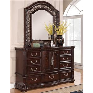 Flexsteel Wynwood Collection Alicante Traditional Dresser and Mirror Set