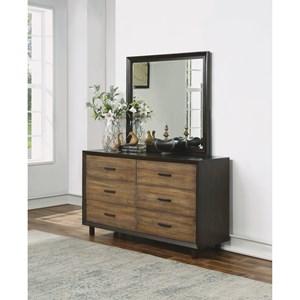 Modern Rustic Dresser & Dresser Mirror with Felt-Lined Drawers