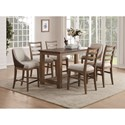 Flexsteel Wynwood Collection Carmen Counter Height Table and Chair Set - Item Number: W1146-835+2x844+4x846