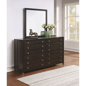 Transitional Dresser and Mirror Set with Felt and Cedar-Lined Drawers