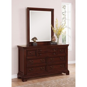 Flexsteel Wynwood Collection Downton Traditional Dresser and Mirror