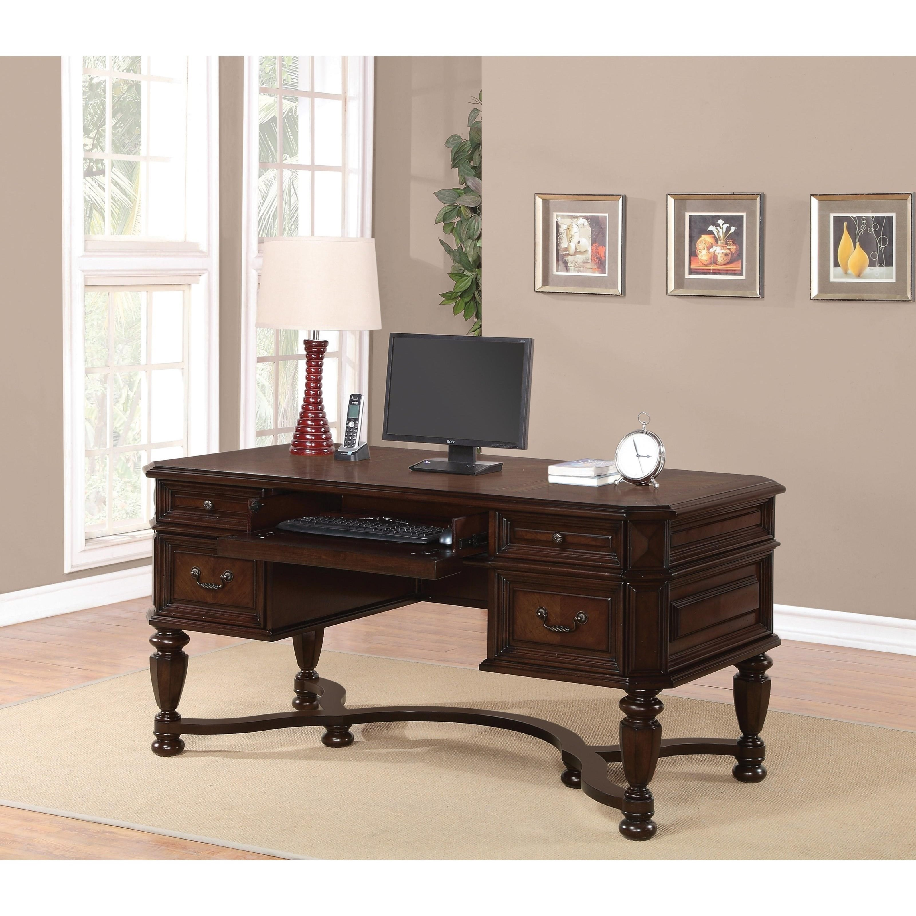 writing desk with keyboard drawer 60 writing desk in light metallic finish with keyboard drawer and two utility drawers.