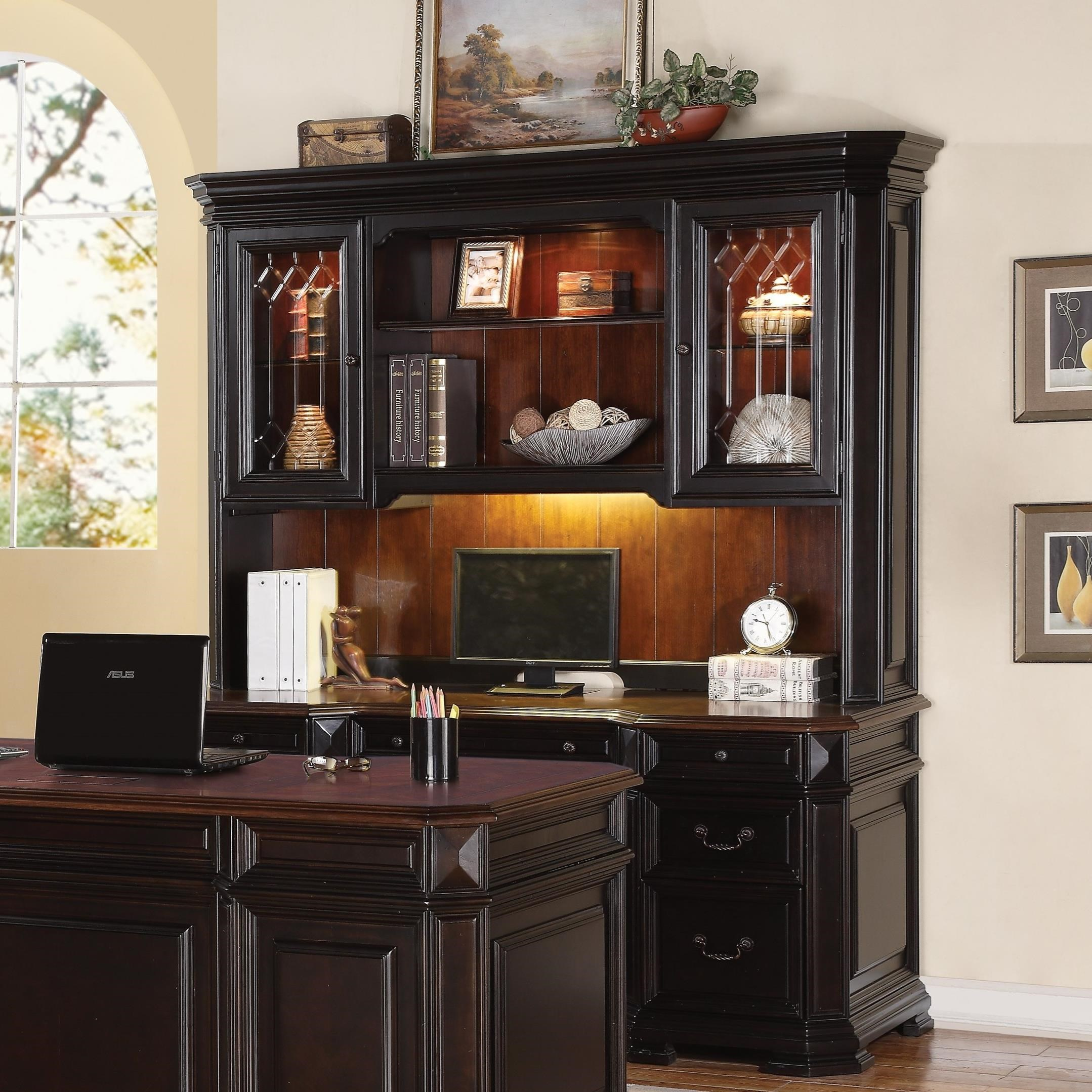palladia and hutch products sauder desk drawers with computer