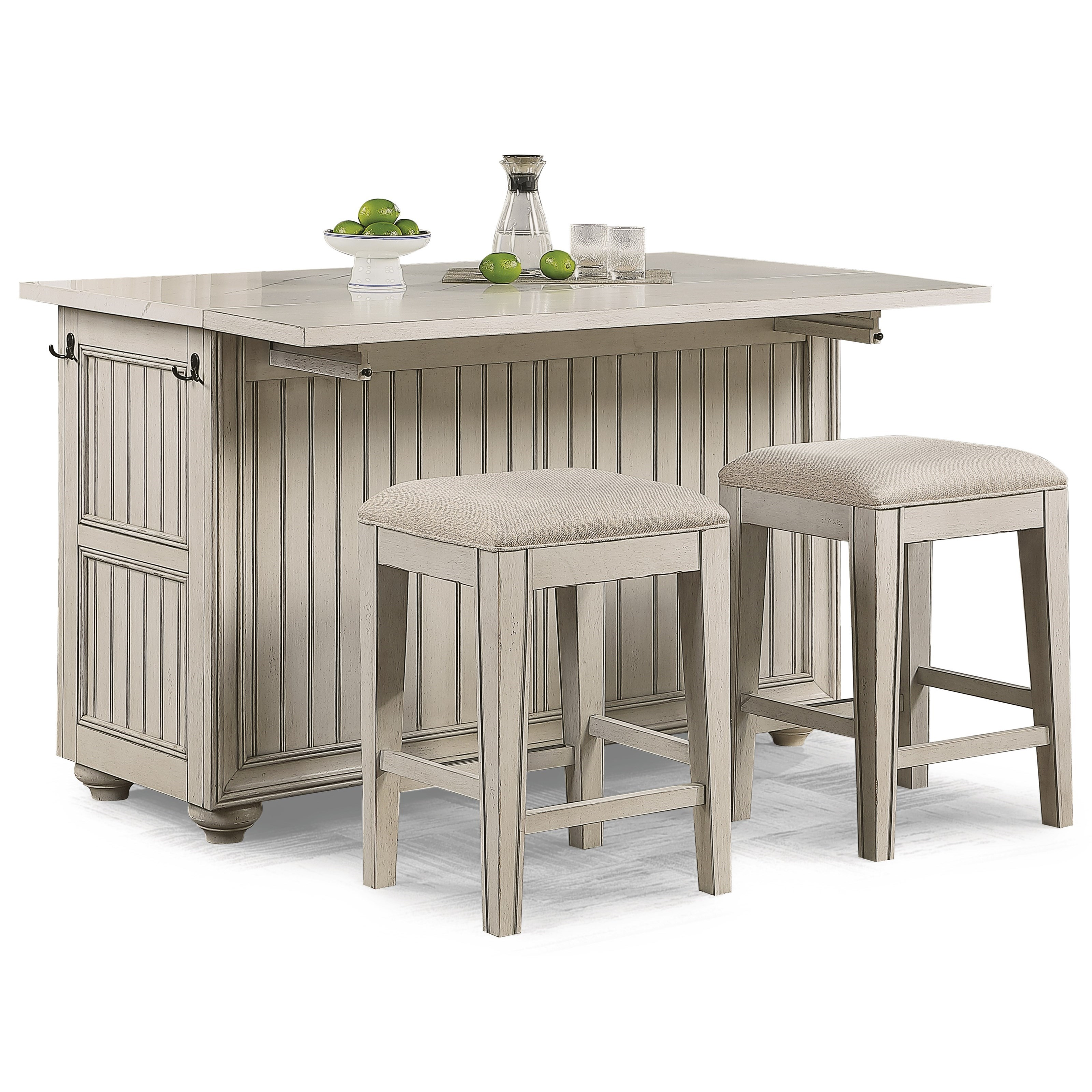 Flexsteel Wynwood Collection Harmony 3 Piece Cottage Dining Set With Kitchen Island Furniture Barn Pub Table And Stool Sets