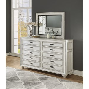 Cottage Dresser and Mirror Set with Felt-Lined Drawers