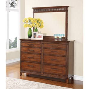 Flexsteel Wynwood Collection Hubbard Transitional Dresser and Mirror