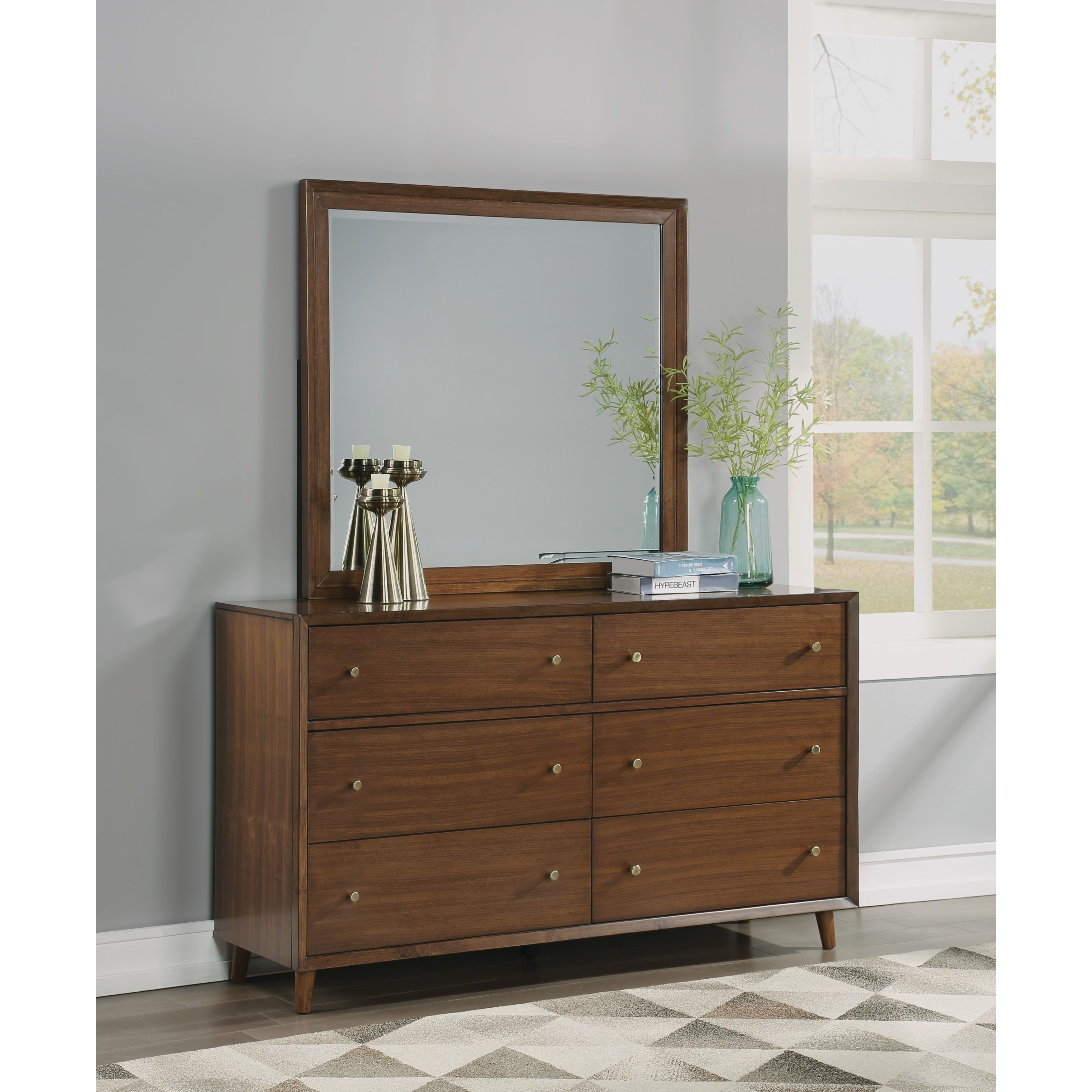 Image of: Flexsteel Wynwood Collection Ludwig Mid Century Modern Dresser And Mirror Set With Felt Lined Drawers Wilcox Furniture Dresser Mirror Sets