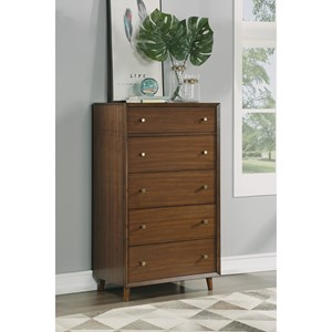 Mid-Century Modern Chest of Drawers with Felt-Lined Drawer