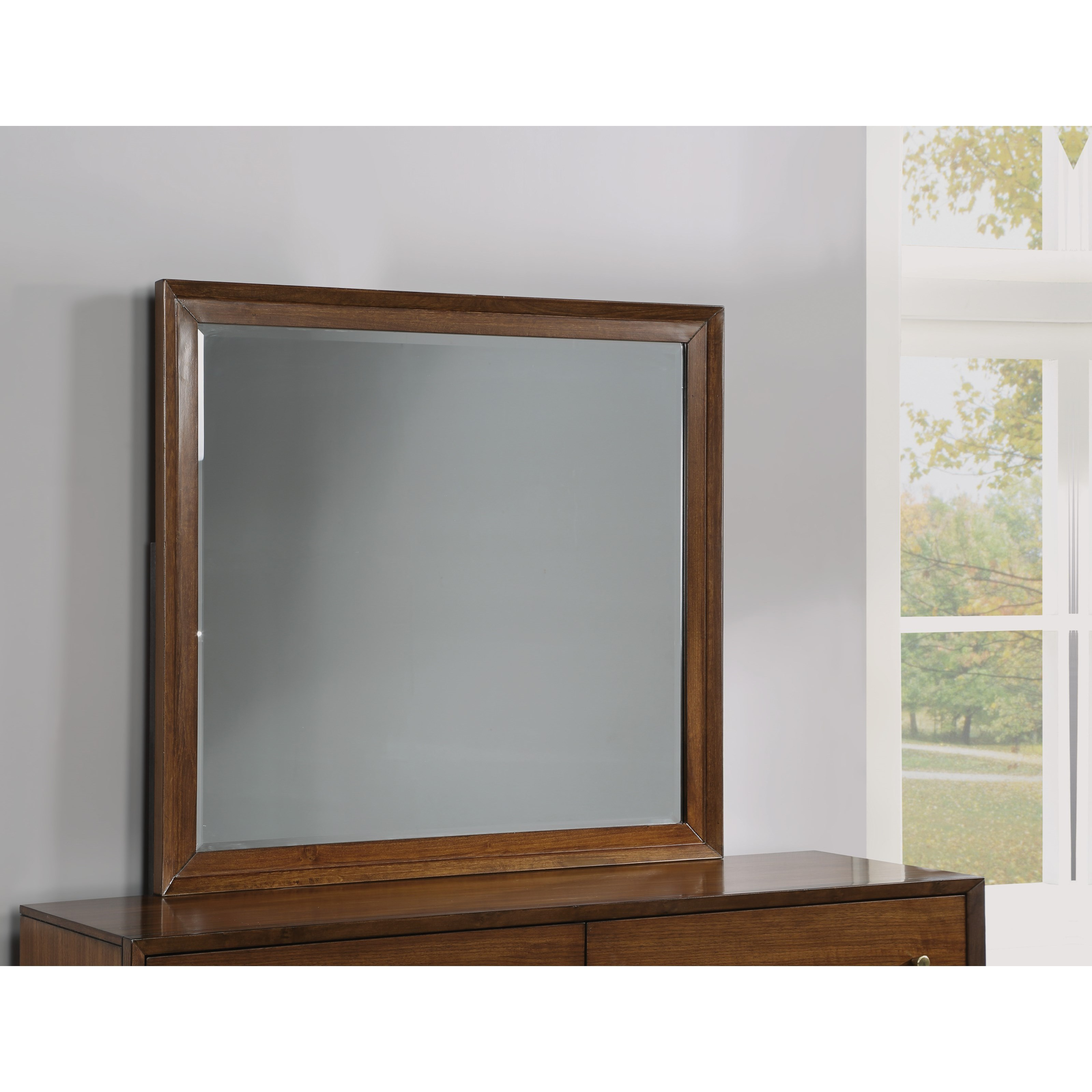 Flexsteel Wynwood Collection Ludwig W1085 880 Mid Century Modern Dresser Mirror With Beveled Glass Pilgrim Furniture City Dresser Mirrors