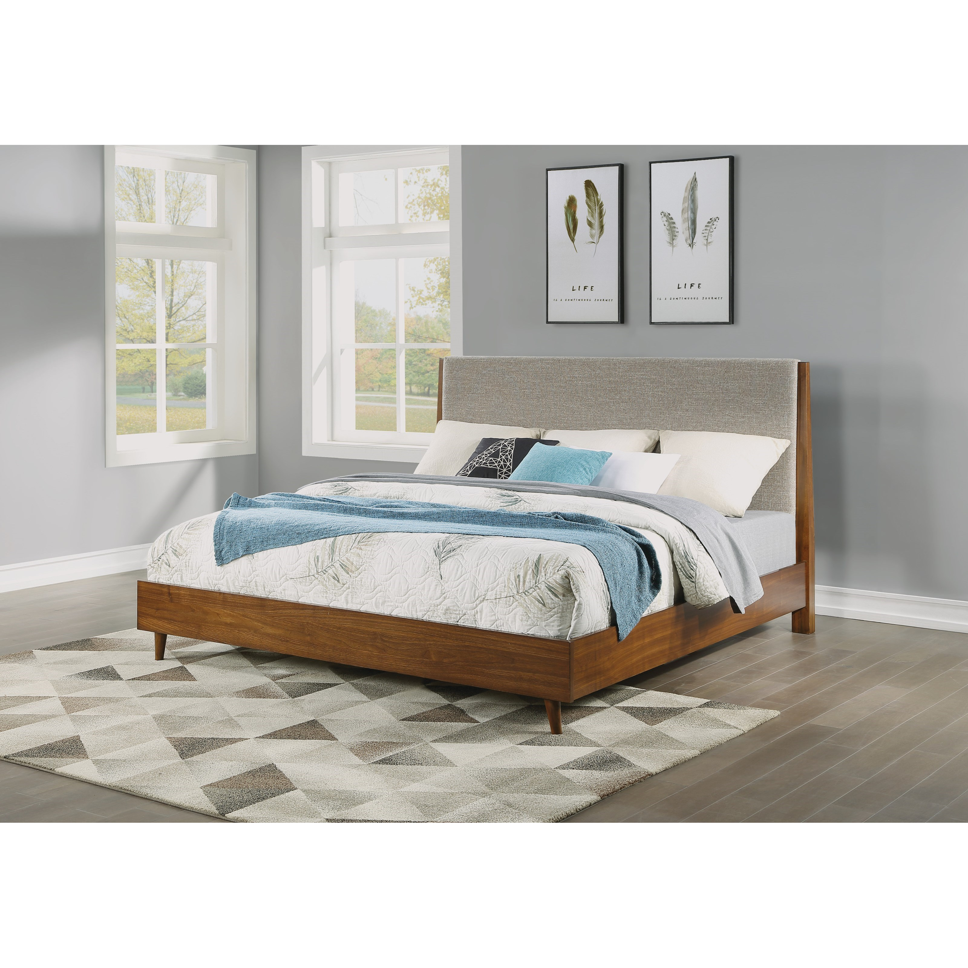 Flexsteel Wynwood Collection Ludwig Mid Century Modern California King Upholstered Bed With Platform Frame Fisher Home Furnishings Upholstered Beds