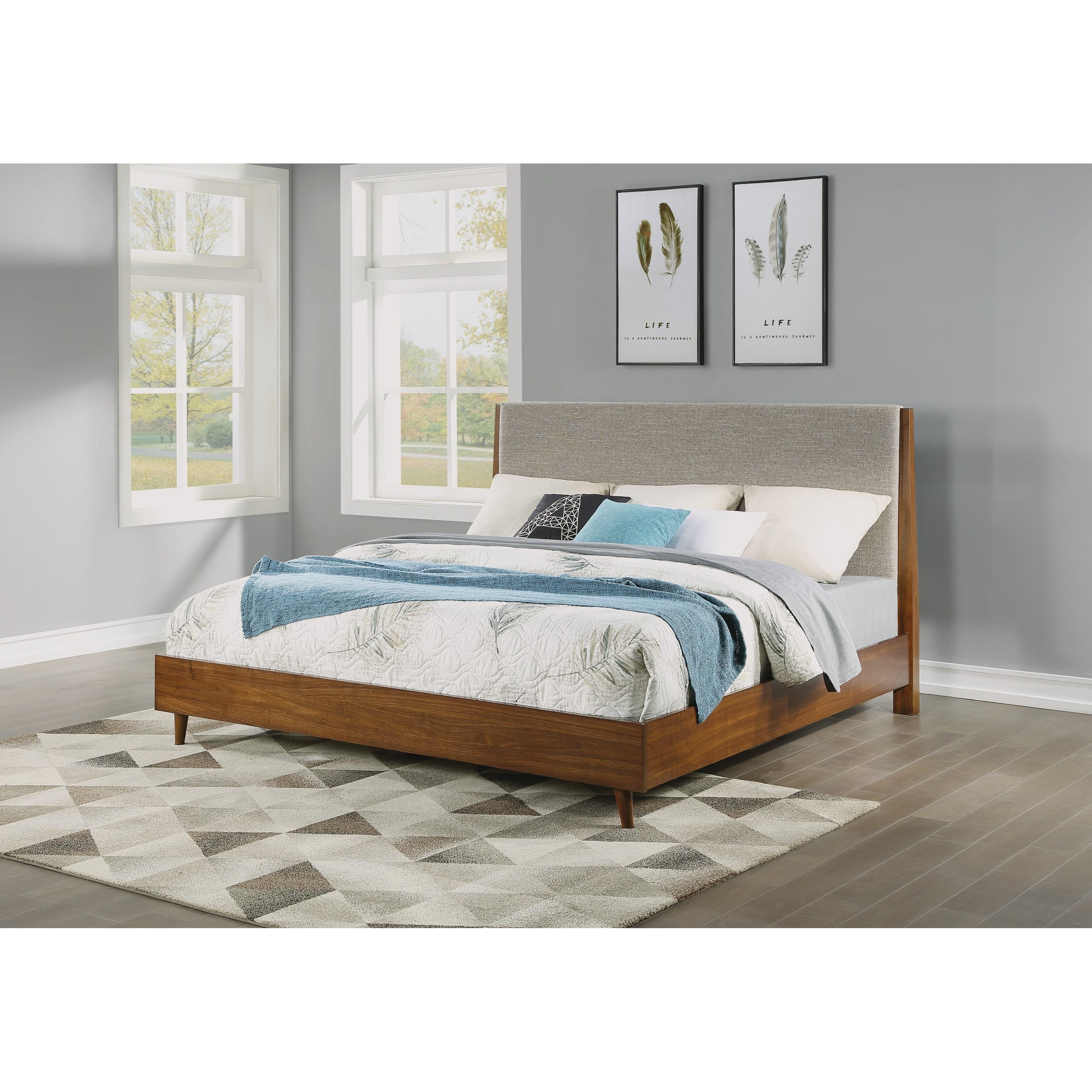 Flexsteel Wynwood Collection Carmen Mid Century Modern Queen Upholstered Bed With Platform Frame Morris Home Upholstered Beds