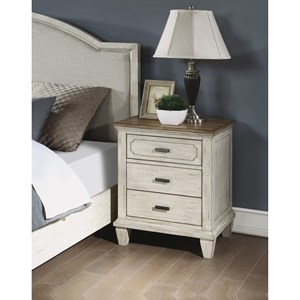 Relaxed Vintage Nightstand with USB Ports and Outlets