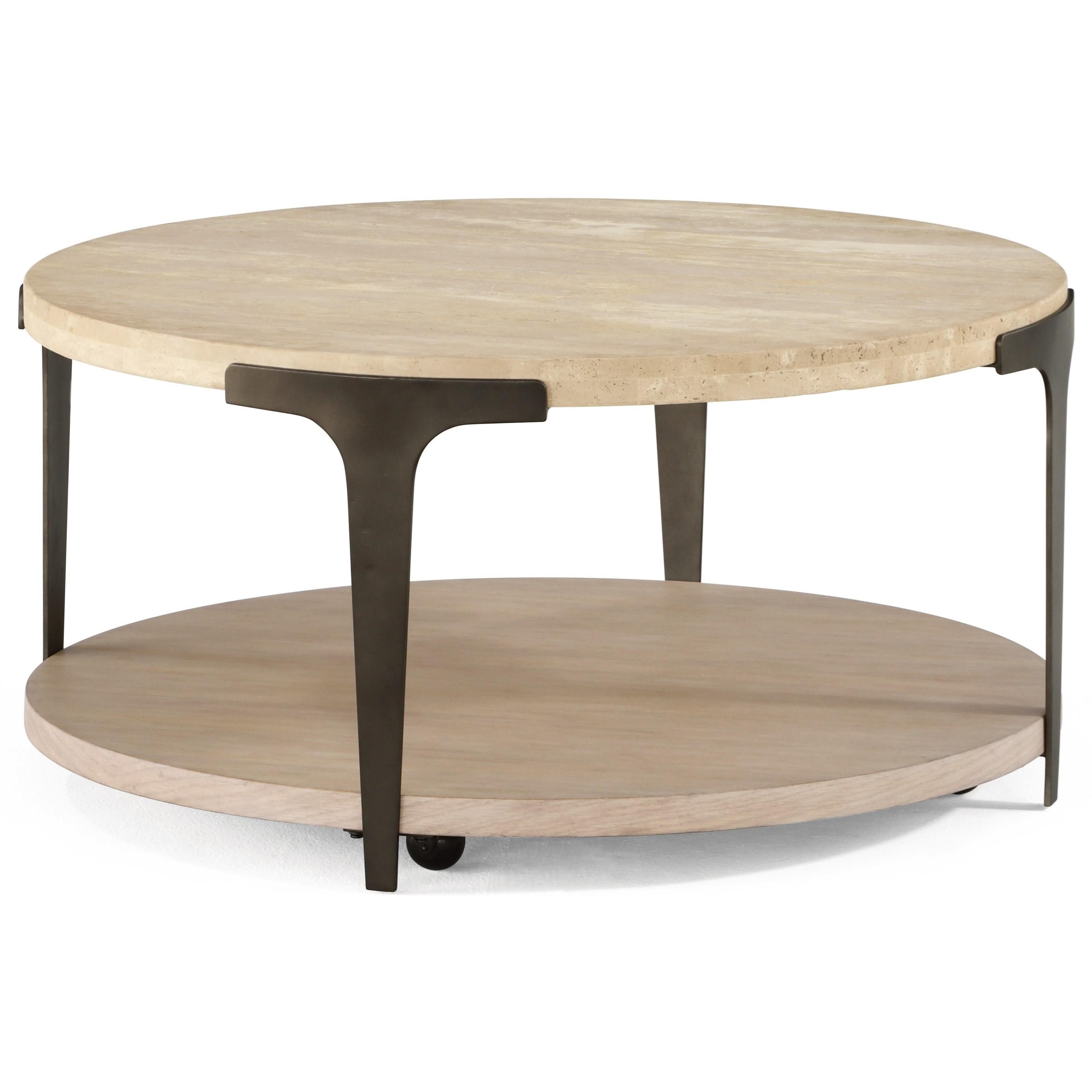 Flexsteel Omni Contempory Cocktail Table With Round Stone Top And Casters Crowley Furniture Mattress Cocktail Coffee Tables