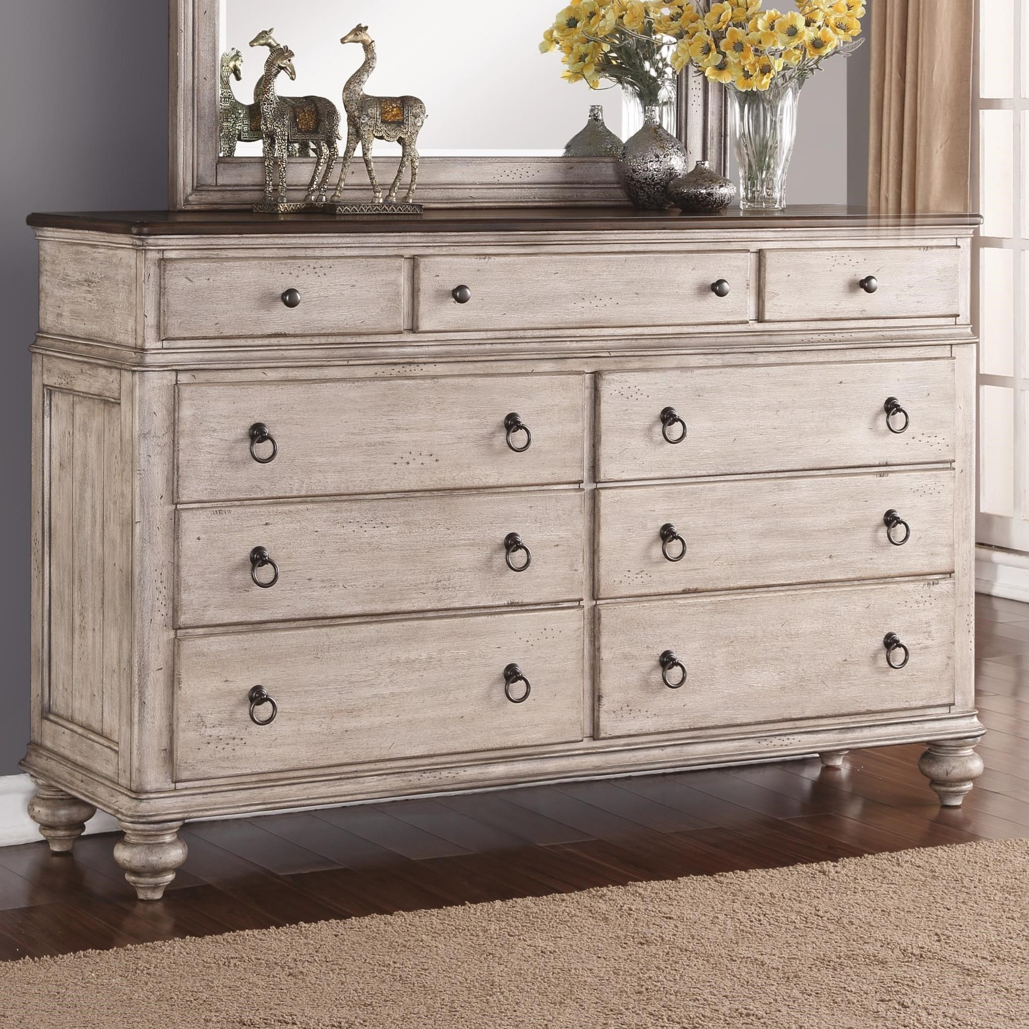 Flexsteel Wynwood Collection Plymouth Cottage 9 Drawer Dresser With False Bottom Drawer Darvin