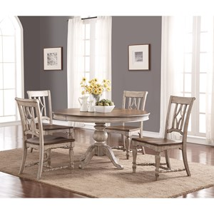 Flexsteel Wynwood Collection Plymouth Round Table and Chair Set