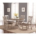 Flexsteel Wynwood Collection Plymouth Round Table and Chair Set - Item Number: W1147-834+4x842