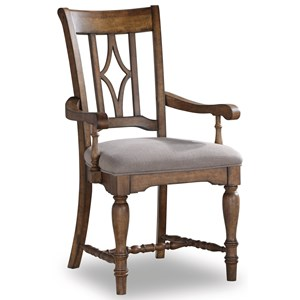 Relaxed Vintage Dining Arm Chair with Upholstered Seat