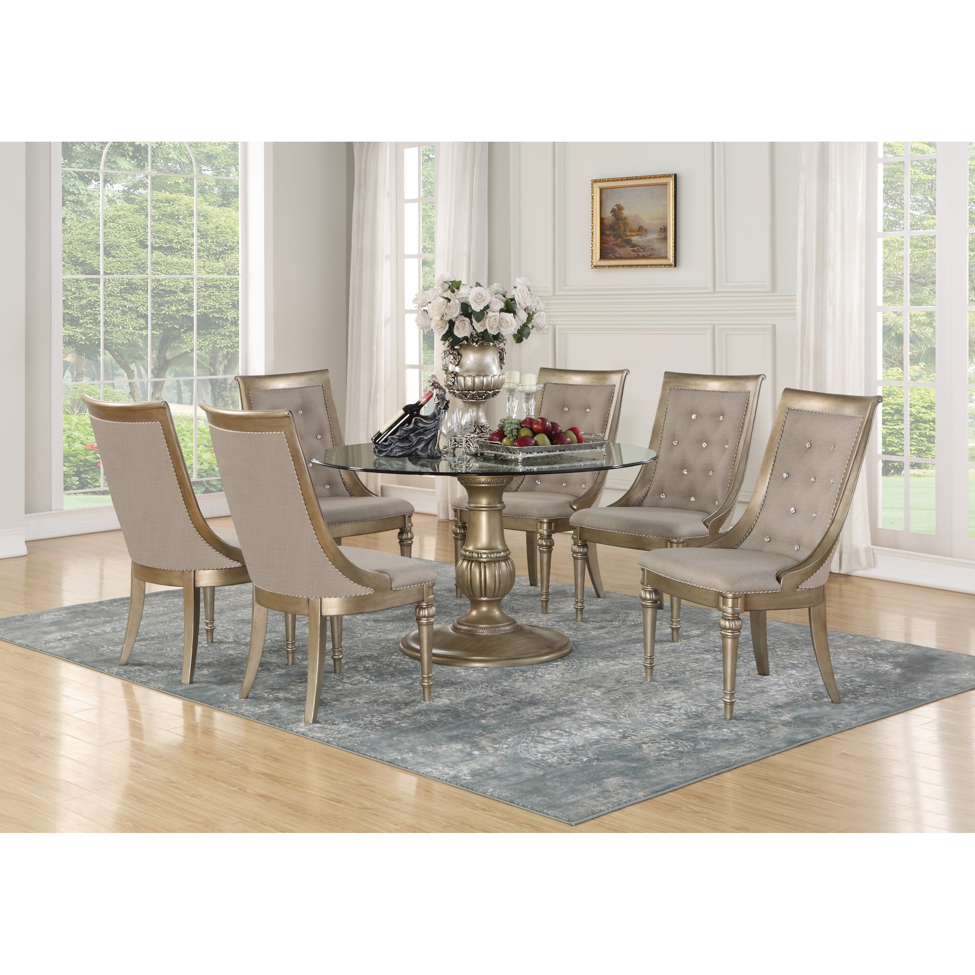 Flexsteel Wynwood Collection San Cristobal 7 Piece Round Dining Set with Glass Table Top ...