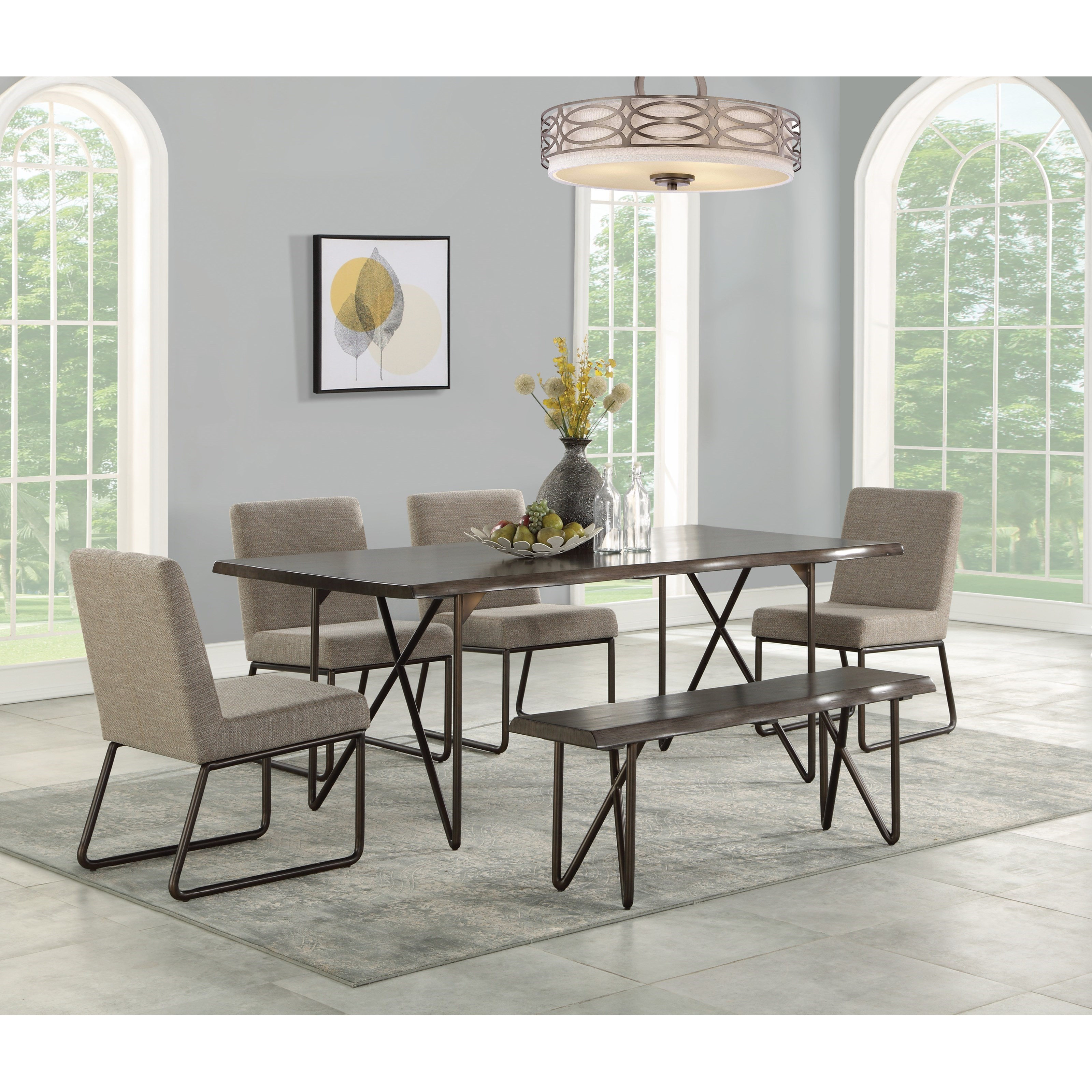 Wynwood A Flexsteel Company Shadow Mid Century Modern 6 Piece Table Set With Bench Conlin S Furniture Table Chair Set With Bench