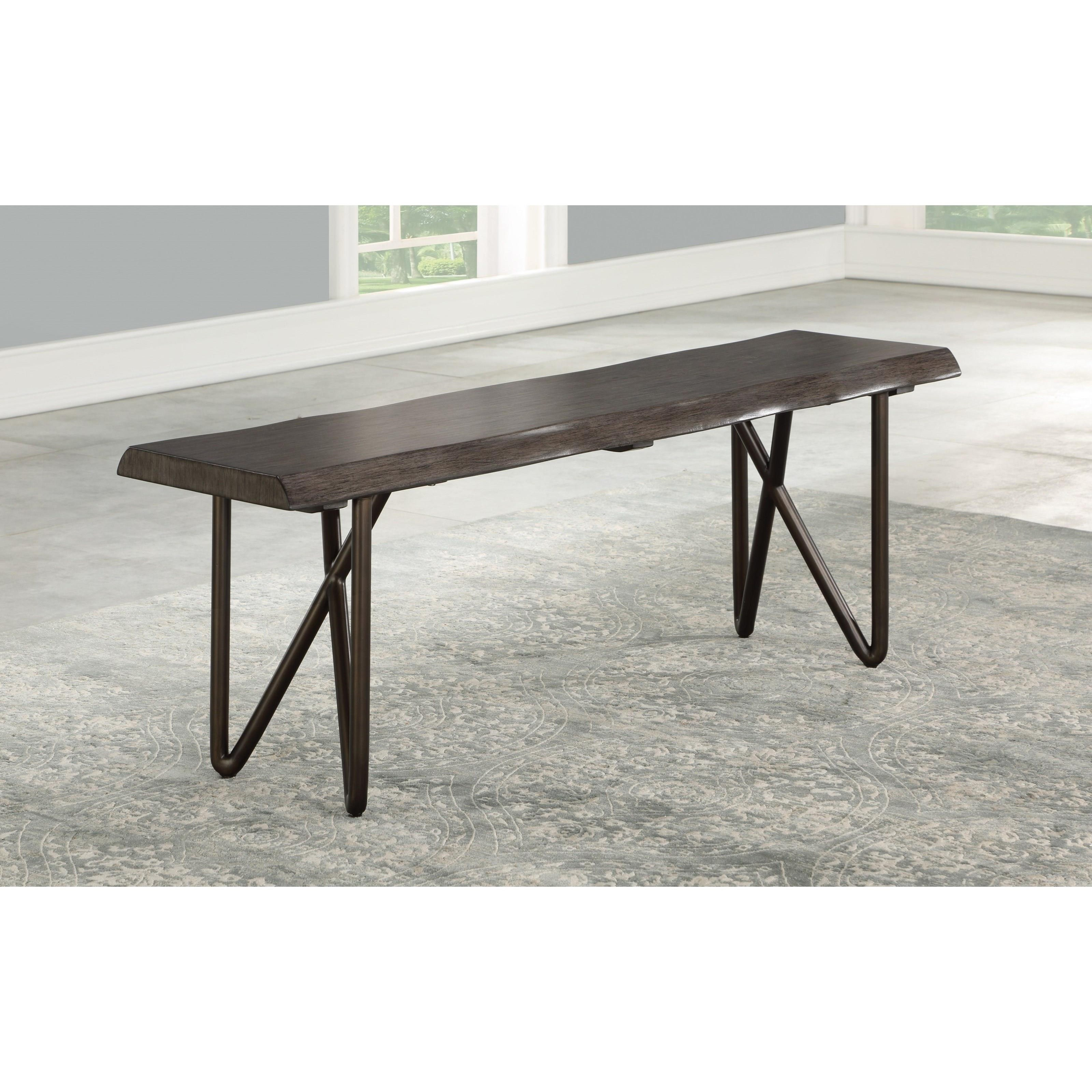 Flexsteel Shadow Mid Century Modern Solid Wood Dining Bench With Live Edge Crowley Furniture Mattress Dining Benches