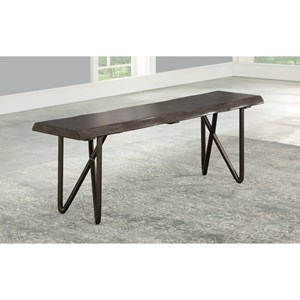 Mid-Century Modern Solid Wood Dining Bench with Live Edge
