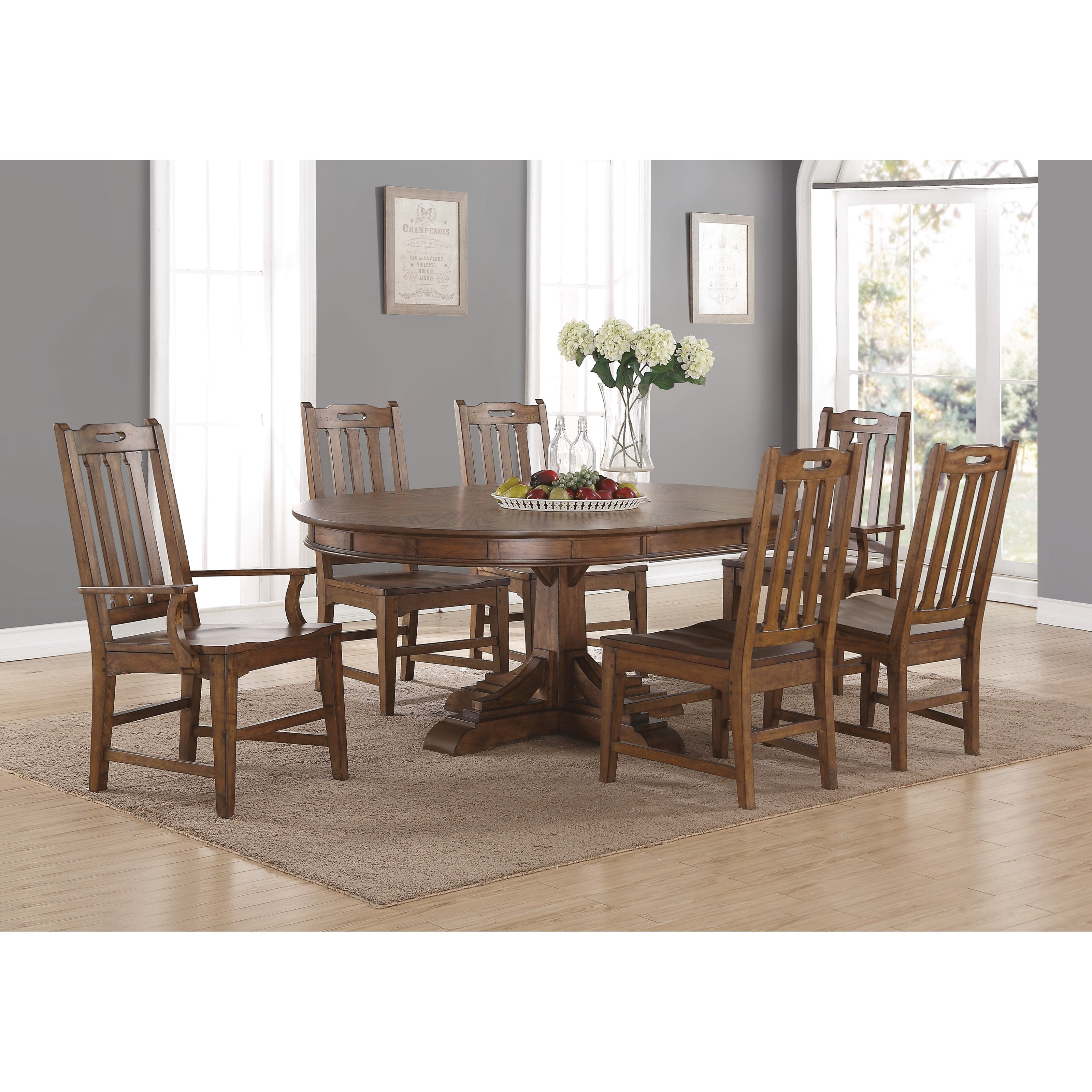 Flexsteel wynwood collection sonora mission formal oval for Fancy dining table and chairs