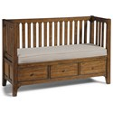 Flexsteel Wynwood Collection Sonora Storage Bench with Cushion - Item Number: W1434-021S+53P-90