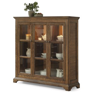 Casual Rustic China Cabinet with Built-in Lighting