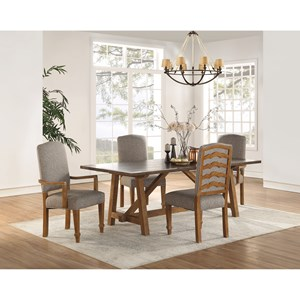 Casual Rustic 5-Piece Dining Set with Upholstered Chairs
