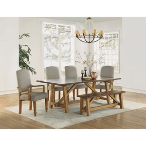 Casual Rustic 6-Piece Formal Dining Set with Bench