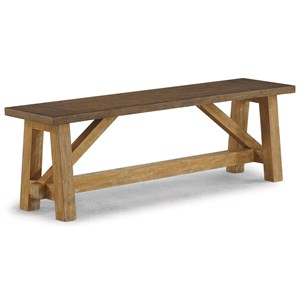 Casual Rustic Bench with Trestle Base
