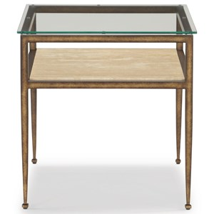 Transitional Rectangular End Table with Glass Top