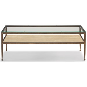 Transitional Rectangular Cocktail Table with Glass Top