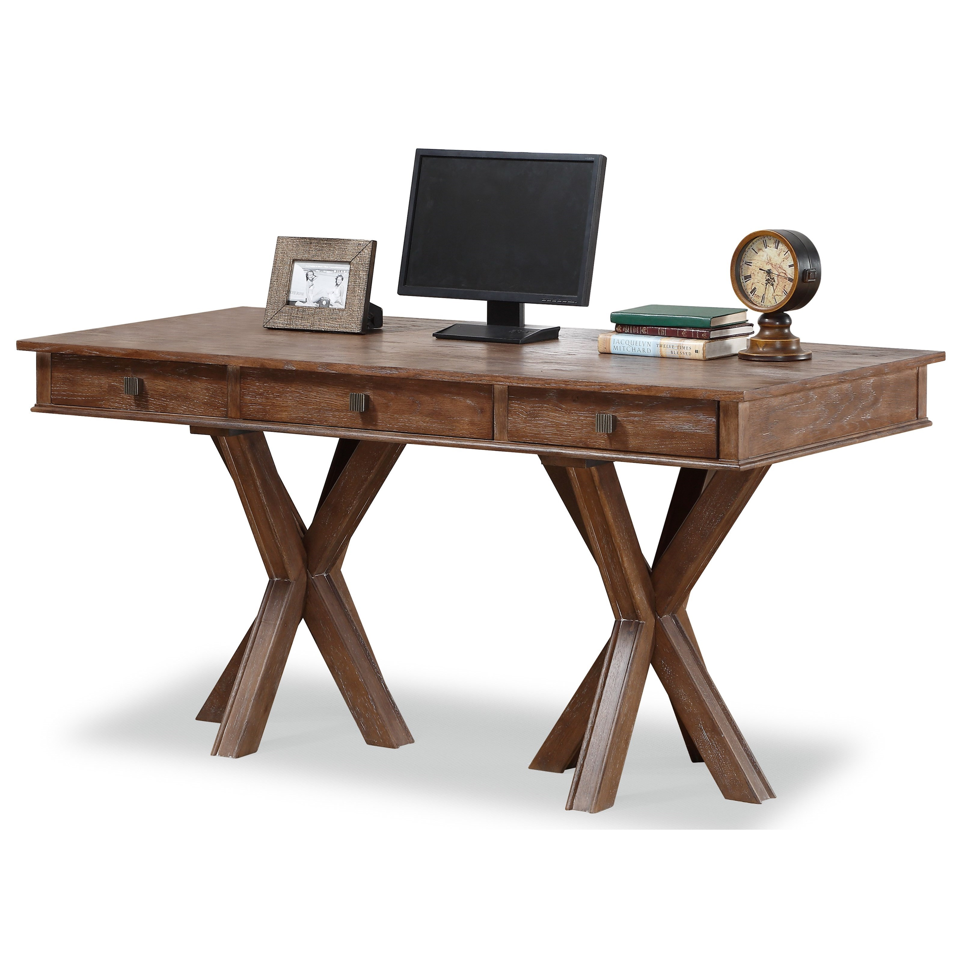 Flexsteel Wynwood Collection Hampton Home Office Group Rustic Writing Desk With 3 Drawers