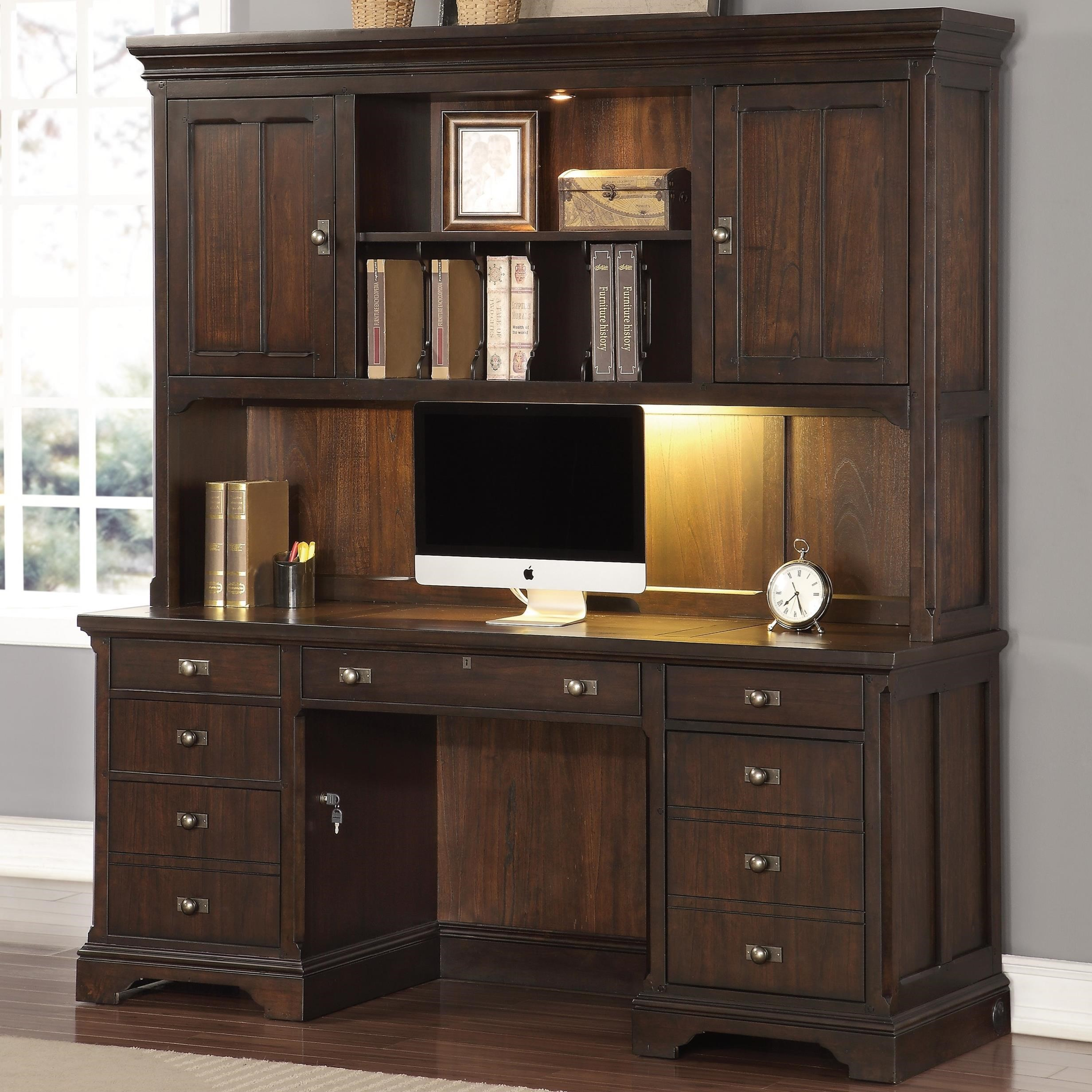 Flexsteel Wynwood Collection Walnut Creek Executive Credenza With Hutch And Charging Station