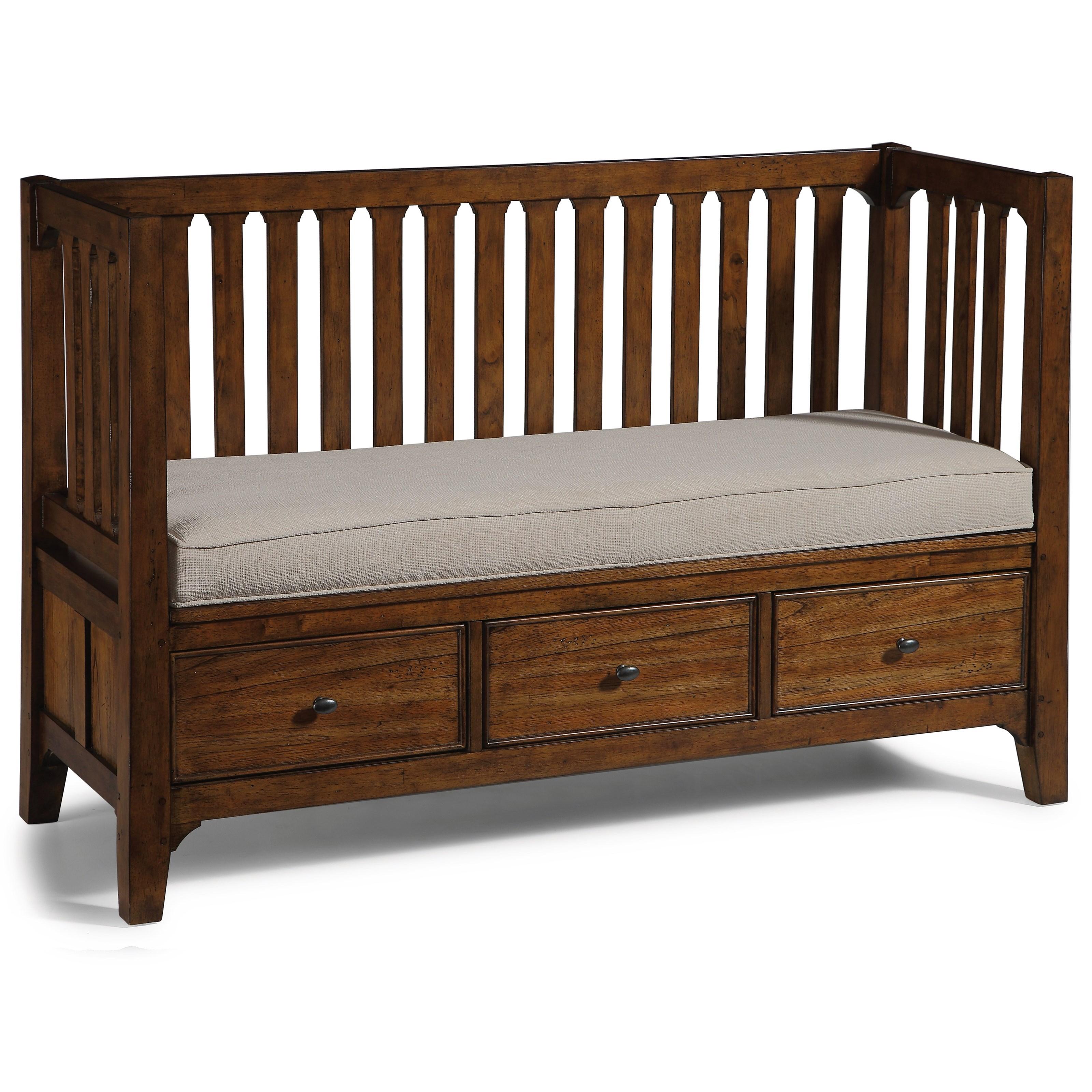 Flexsteel Wynwood Collection Windsor Mission Storage Bench With 3 Drawers Olinde 39 S Furniture