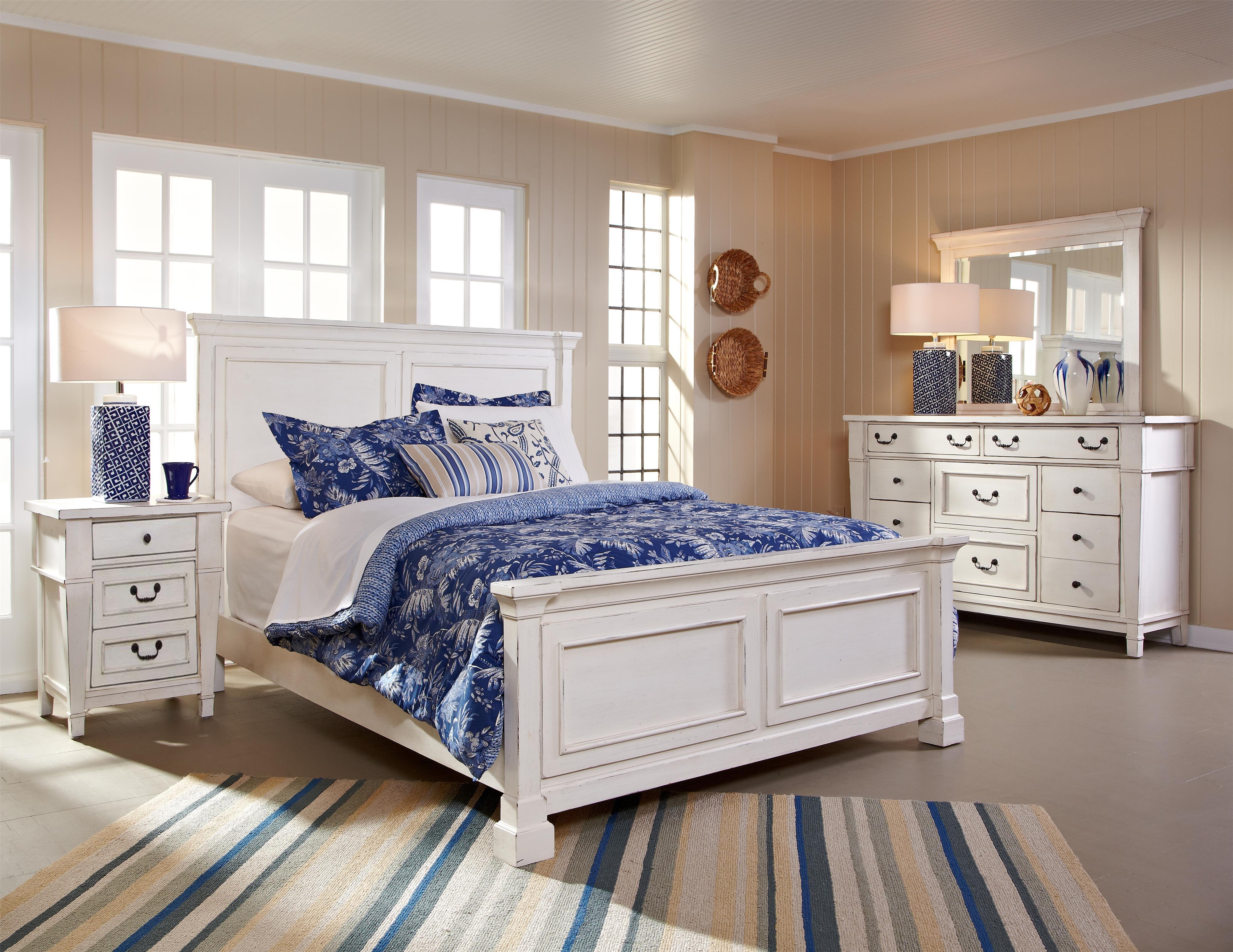 King Panel Bed, Dresser, Mirror & Nightstand
