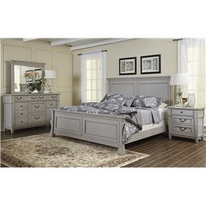 Folio 21 Stone Harbor King  Panel Bed Dresser, Mirror, 3 DWR Night