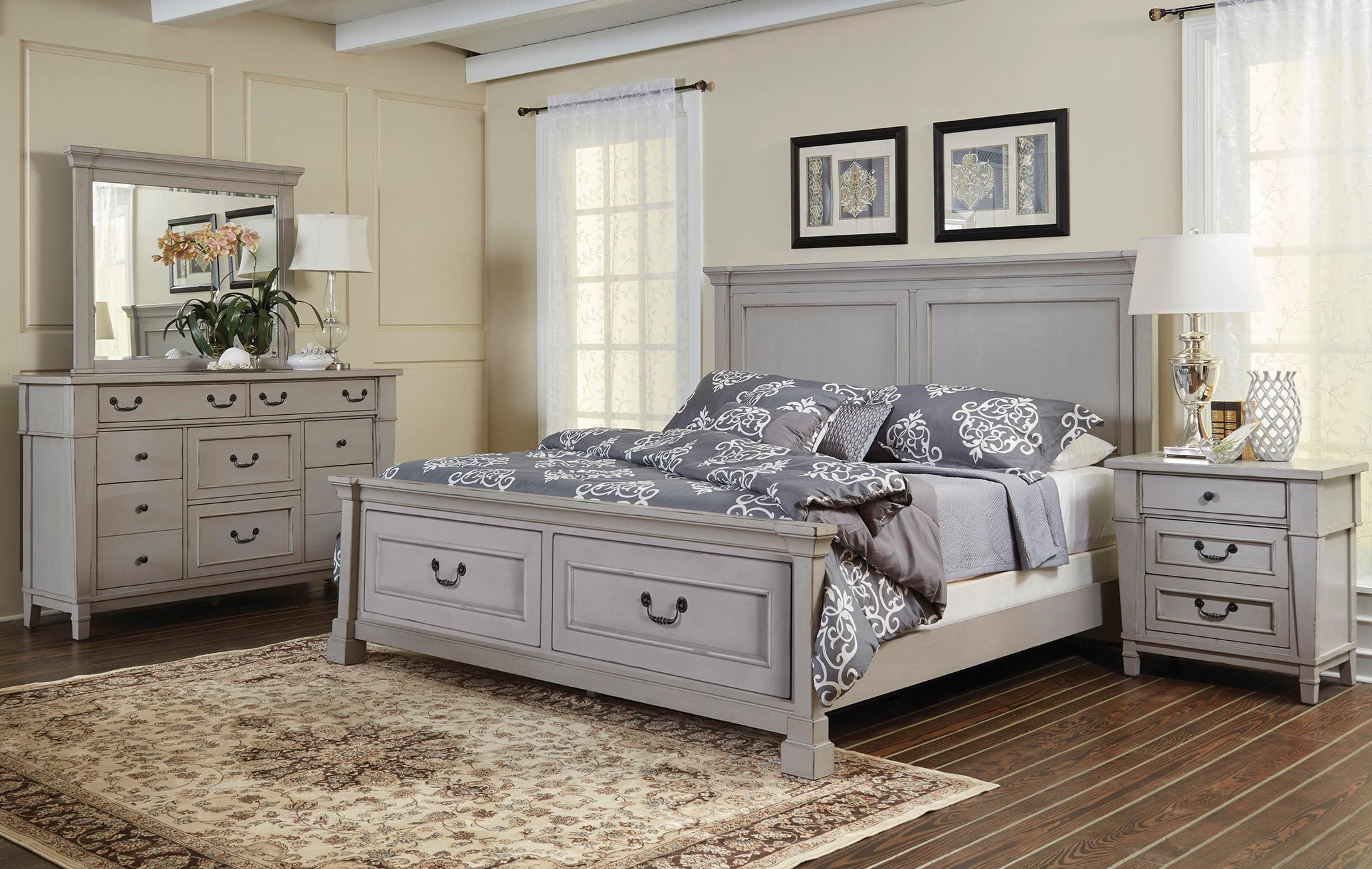 King  Panel Storage Bed Dresser, Mirror, 3 D