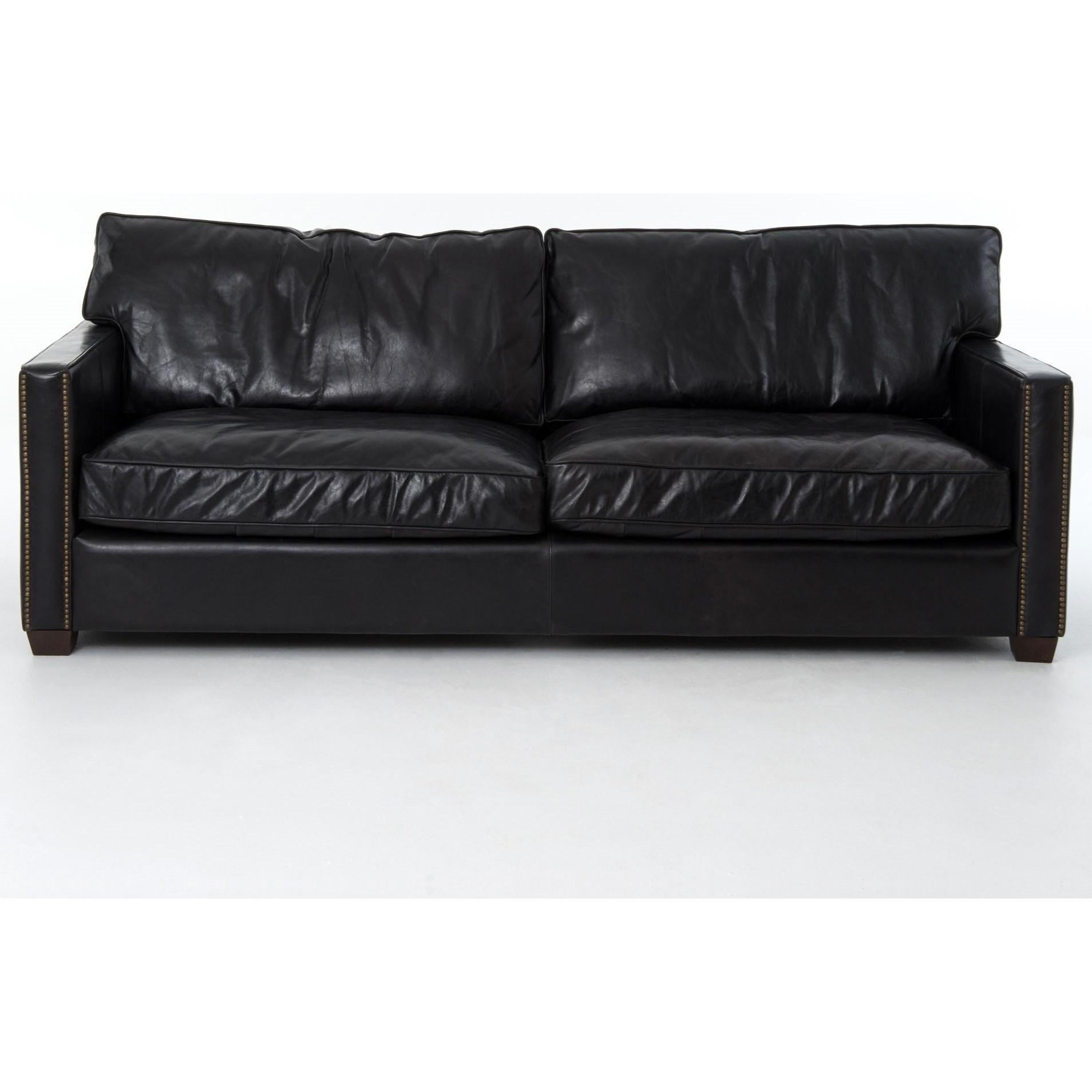 Four Hands Carnegie Larkin 88 Sofa With Old Saddle Black Leather Belfort Furniture Sofa
