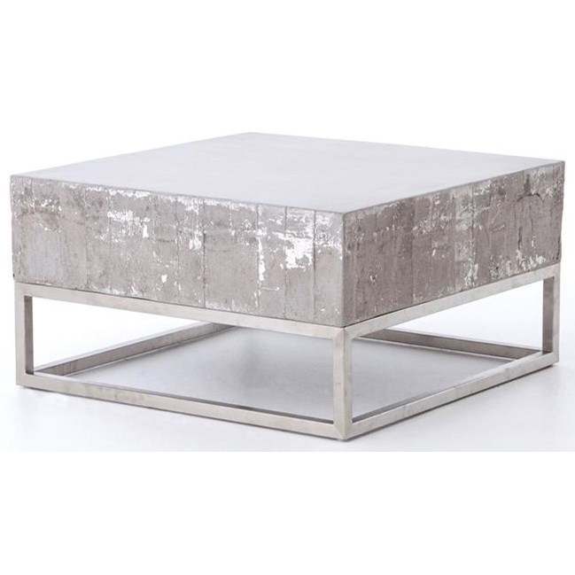 Four Hands Constantine Concrete And Chrome Coffee Table - Item Number: VCNS-F011