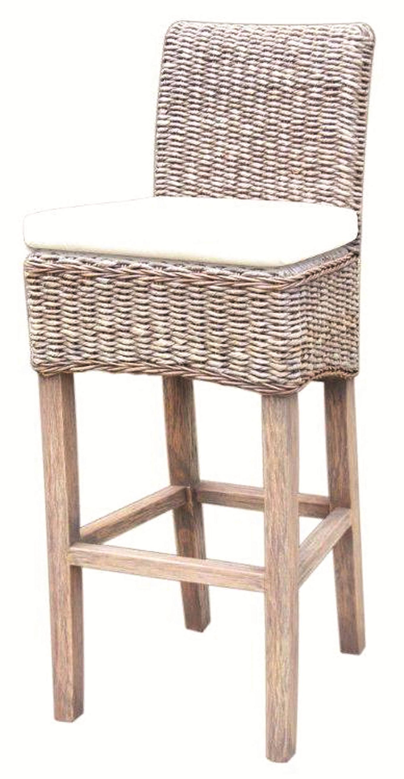 Four Hands Grass Roots Banana Leaf Barstool - Item Number: JCHR-B1CSG-GRY